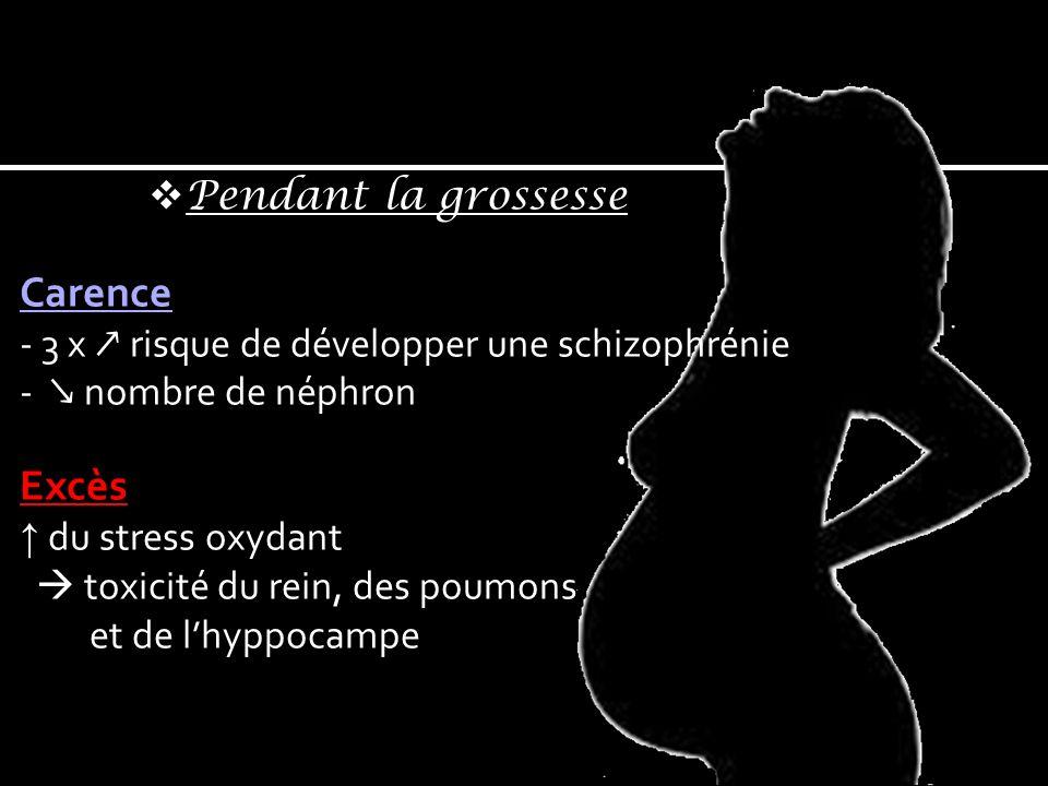Pendant la grossesse Carence - 3 x risque de développer une schizophrénie - nombre de néphron Excès du stress oxydant toxicité du rein, des poumons et de lhyppocampe