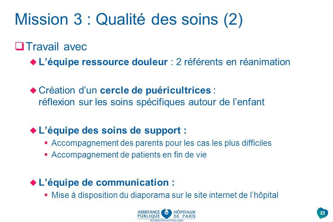 Mission 3 : Qualité des soins (2) Travail avec Léquipe ressource douleur : 2 référents en réanimation Création dun cercle de puéricultrices : réflexio