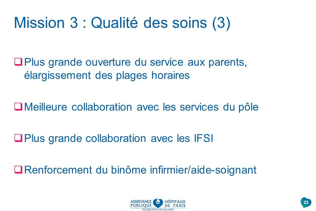 Mission 3 : Qualité des soins (3) Plus grande ouverture du service aux parents, élargissement des plages horaires Meilleure collaboration avec les ser