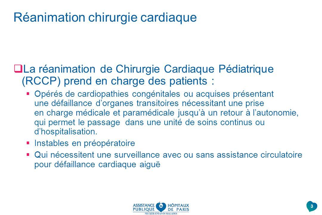 Réanimation chirurgie cardiaque La réanimation de Chirurgie Cardiaque Pédiatrique (RCCP) prend en charge des patients : Opérés de cardiopathies congén