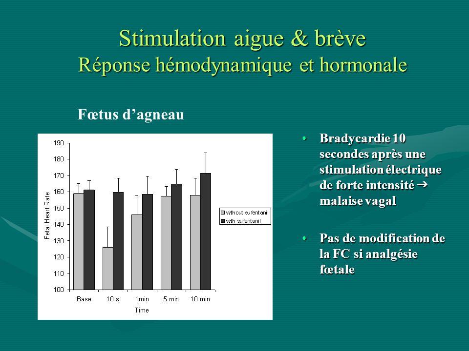 Stimulation aigue & brève Réponse hémodynamique et hormonale Bradycardie 10 secondes après une stimulation électrique de forte intensité malaise vagal