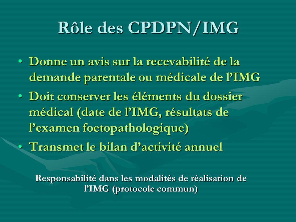 Rôle des CPDPN/IMG Donne un avis sur la recevabilité de la demande parentale ou médicale de lIMGDonne un avis sur la recevabilité de la demande parent
