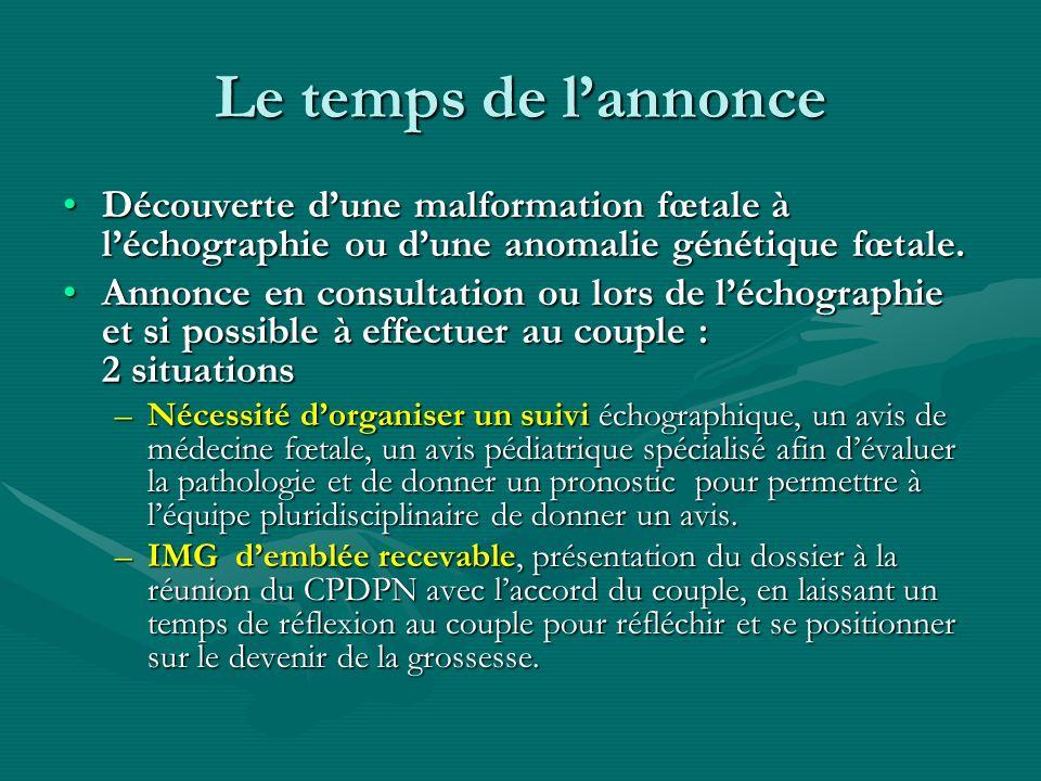 Le temps de lannonce Découverte dune malformation fœtale à léchographie ou dune anomalie génétique fœtale.Découverte dune malformation fœtale à léchog