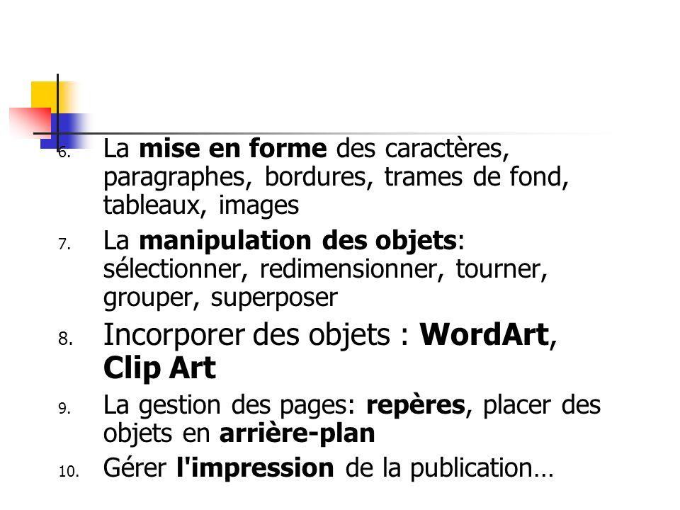 6. La mise en forme des caractères, paragraphes, bordures, trames de fond, tableaux, images 7. La manipulation des objets: sélectionner, redimensionne