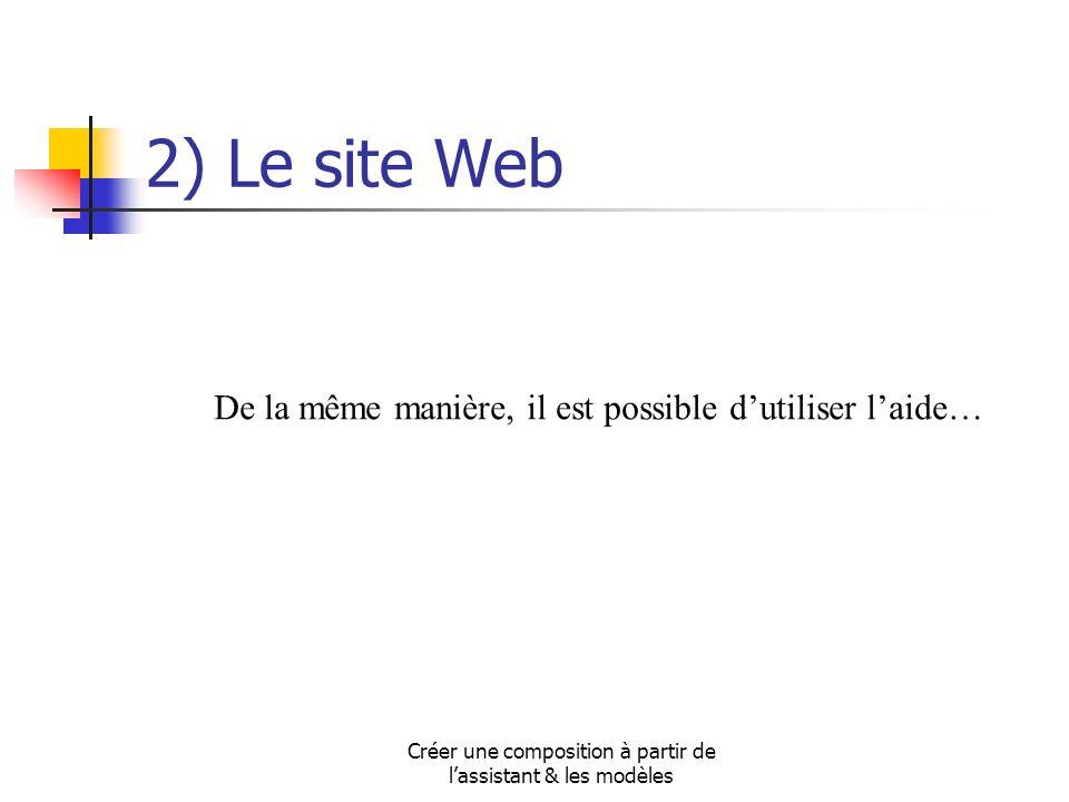 Créer une composition à partir de lassistant & les modèles 2) Le site Web De la même manière, il est possible dutiliser laide…