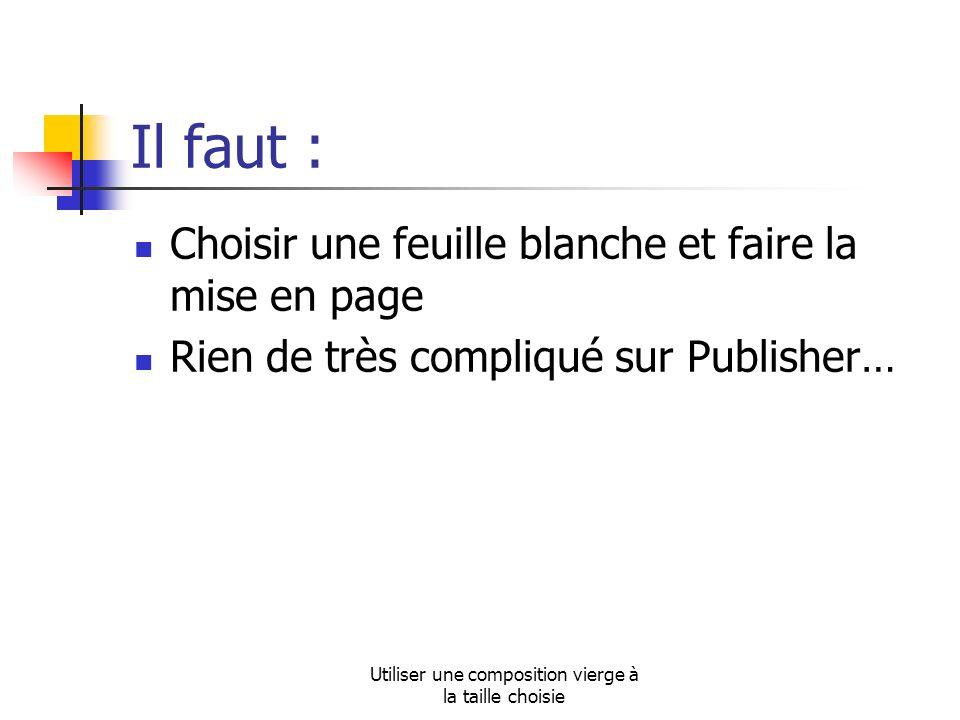 Utiliser une composition vierge à la taille choisie Il faut : Choisir une feuille blanche et faire la mise en page Rien de très compliqué sur Publisher…