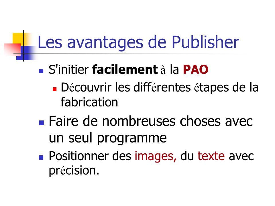 Les avantages de Publisher S initier facilement à la PAO D é couvrir les diff é rentes é tapes de la fabrication Faire de nombreuses choses avec un seul programme Positionner des images, du texte avec pr é cision.
