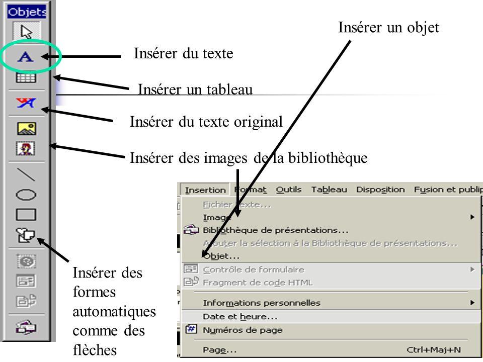 Insérer du texte Insérer un tableau Insérer du texte original Insérer des images de la bibliothèque Insérer un objet Insérer des formes automatiques comme des flèches