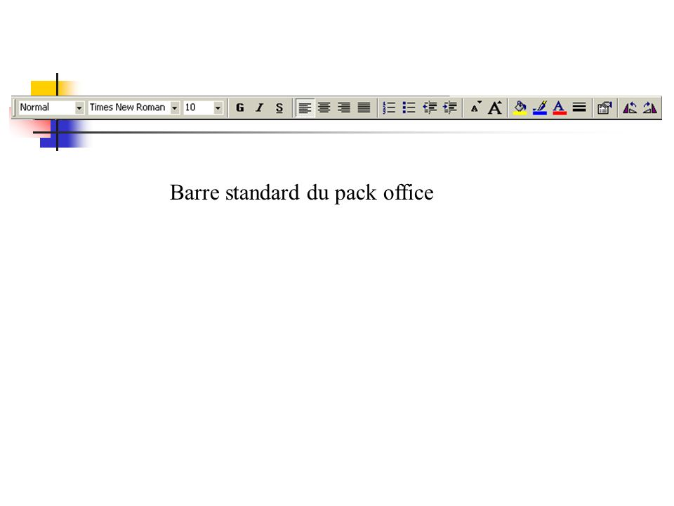 Barre standard du pack office