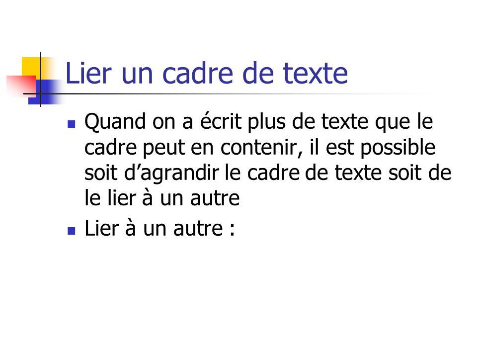 Lier un cadre de texte Quand on a écrit plus de texte que le cadre peut en contenir, il est possible soit dagrandir le cadre de texte soit de le lier à un autre Lier à un autre :