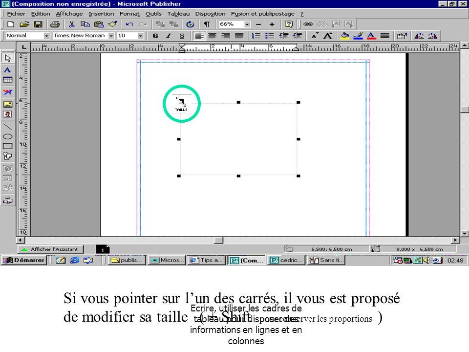 Ecrire, utiliser les cadres de tableau pour disposer des informations en lignes et en colonnes Si vous pointer sur lun des carrés, il vous est proposé de modifier sa taille ( + Shift pour conserver les proportions )