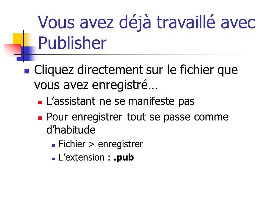 Vous avez déjà travaillé avec Publisher Cliquez directement sur le fichier que vous avez enregistré… Lassistant ne se manifeste pas Pour enregistrer tout se passe comme dhabitude Fichier > enregistrer Lextension :.pub