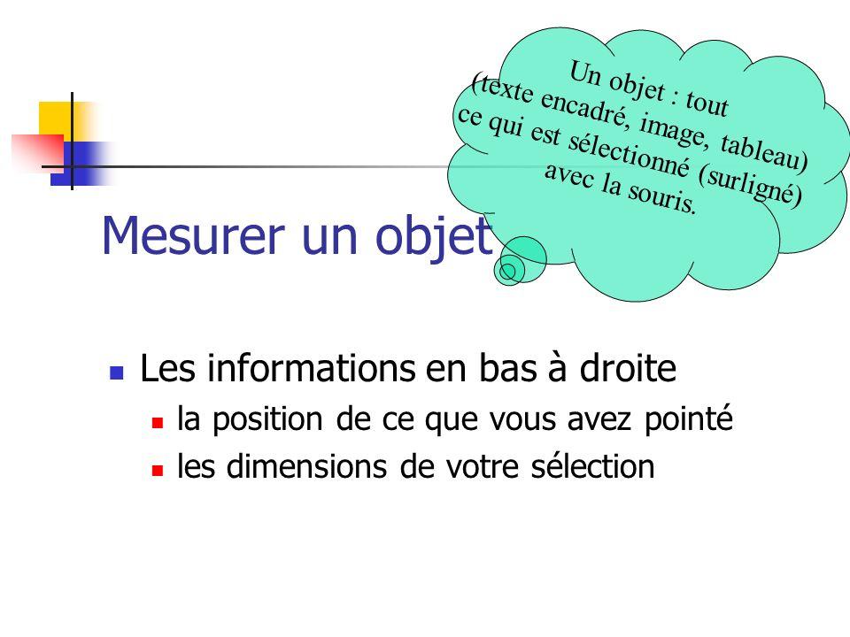 Mesurer un objet Les informations en bas à droite la position de ce que vous avez pointé les dimensions de votre sélection Un objet : tout (texte encadré, image, tableau) ce qui est sélectionné (surligné) avec la souris.