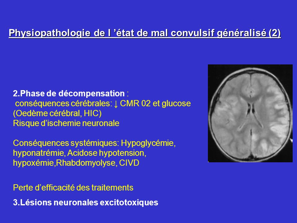 Physiopathologie de l état de mal convulsif généralisé (2) 2.Phase de décompensation : conséquences cérébrales: CMR 02 et glucose (Oedème cérébral, HI