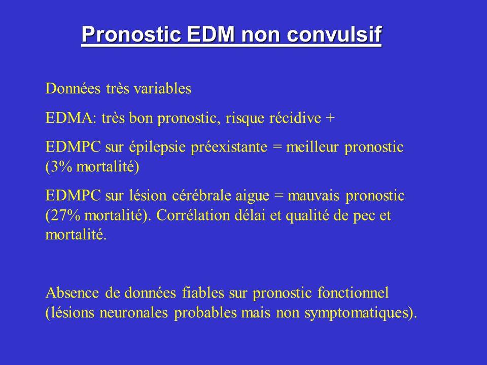 Pronostic EDM non convulsif Données très variables EDMA: très bon pronostic, risque récidive + EDMPC sur épilepsie préexistante = meilleur pronostic (