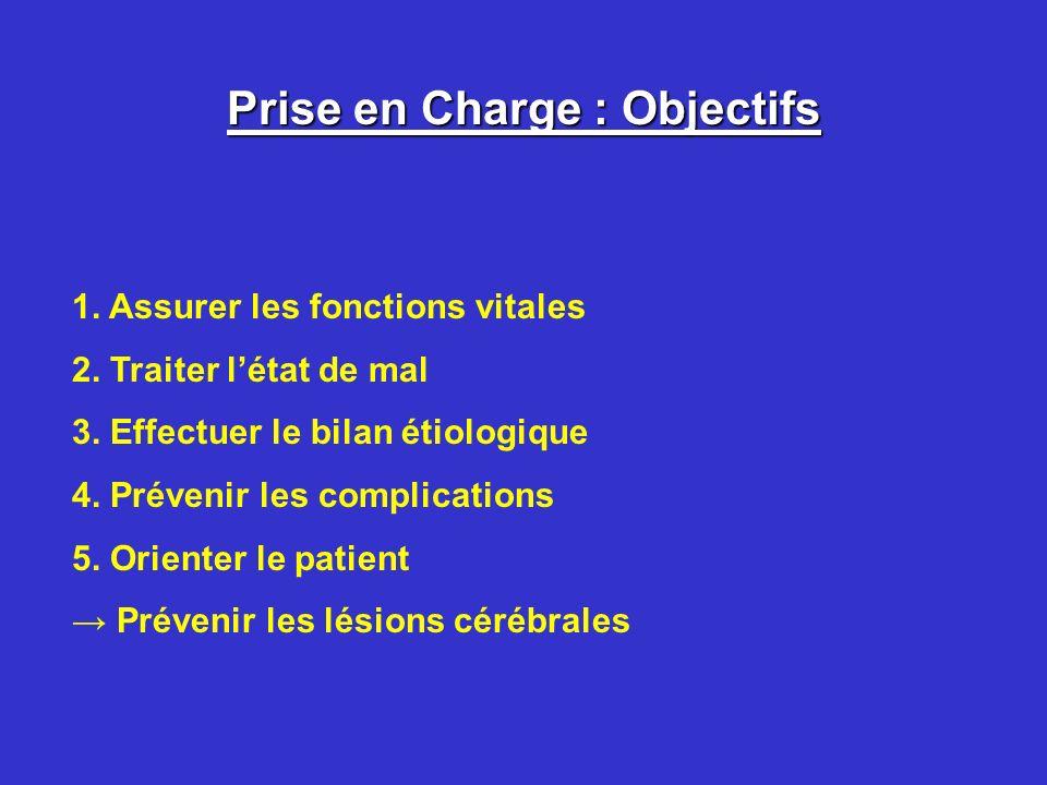 Prise en Charge : Objectifs 1. Assurer les fonctions vitales 2. Traiter létat de mal 3. Effectuer le bilan étiologique 4. Prévenir les complications 5