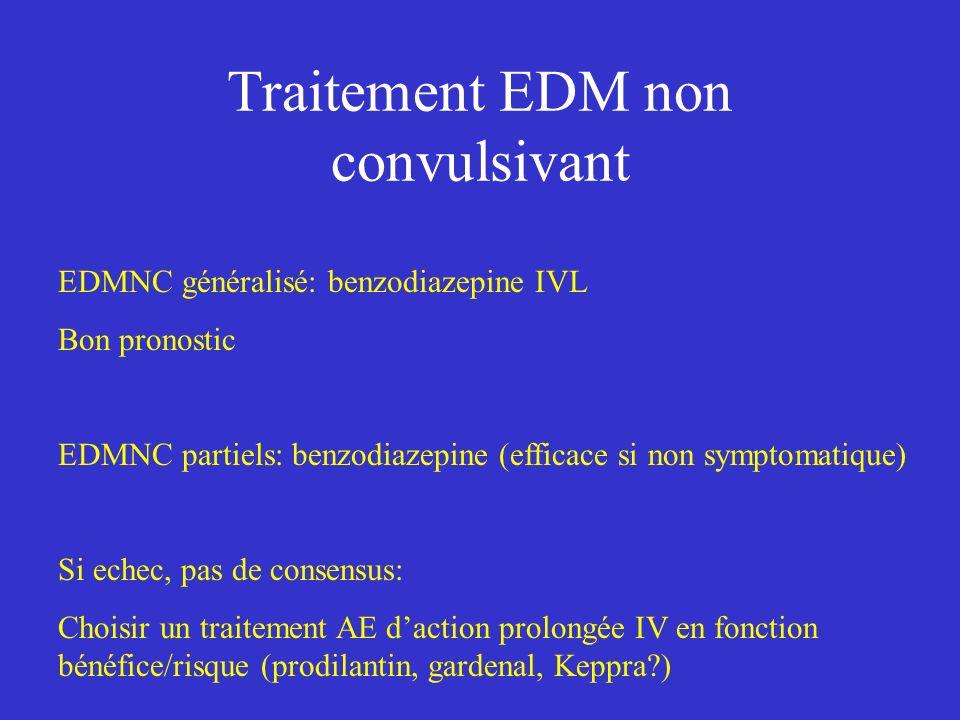 Traitement EDM non convulsivant EDMNC généralisé: benzodiazepine IVL Bon pronostic EDMNC partiels: benzodiazepine (efficace si non symptomatique) Si e