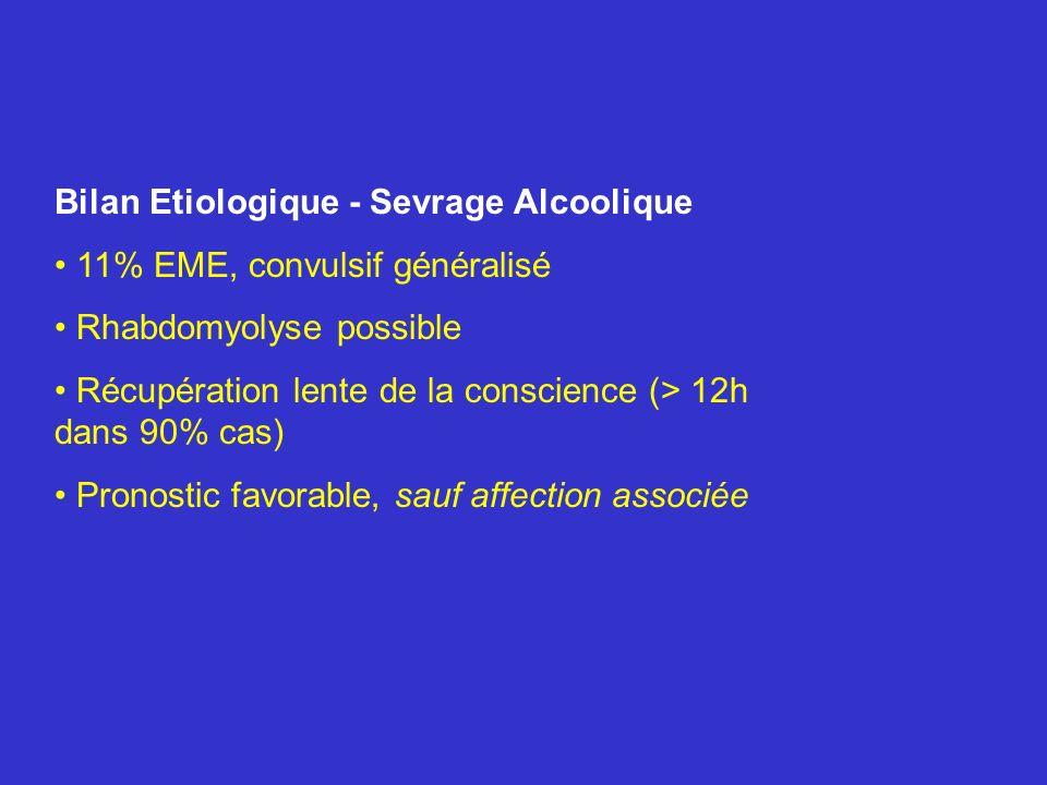 Bilan Etiologique - Sevrage Alcoolique 11% EME, convulsif généralisé Rhabdomyolyse possible Récupération lente de la conscience (> 12h dans 90% cas) P