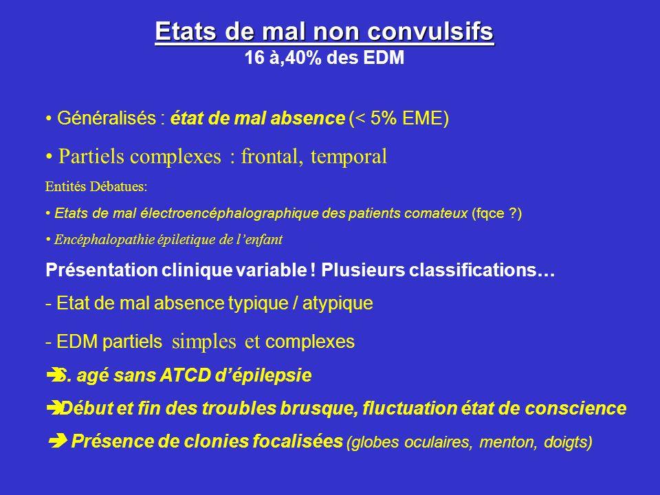 Etats de mal non convulsifs Etats de mal non convulsifs 16 à,40% des EDM Généralisés : état de mal absence (< 5% EME) Partiels complexes : frontal, te