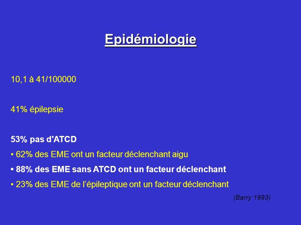 Epidémiologie 10,1 à 41/100000 41% épilepsie 53% pas d'ATCD 62% des EME ont un facteur déclenchant aigu 88% des EME sans ATCD ont un facteur déclencha
