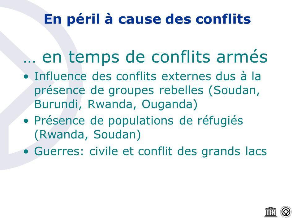 En péril à cause des conflits … en temps de conflits armés Influence des conflits externes dus à la présence de groupes rebelles (Soudan, Burundi, Rwa