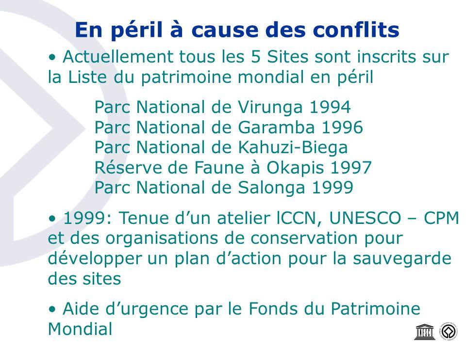 Actuellement tous les 5 Sites sont inscrits sur la Liste du patrimoine mondial en péril Parc National de Virunga 1994 Parc National de Garamba 1996 Pa