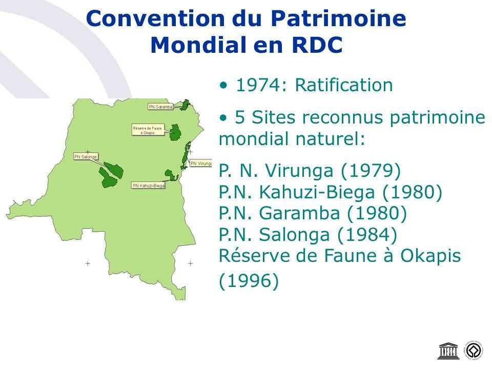Convention du Patrimoine Mondial en RDC 1974: Ratification 5 Sites reconnus patrimoine mondial naturel: P. N. Virunga (1979) P.N. Kahuzi-Biega (1980)