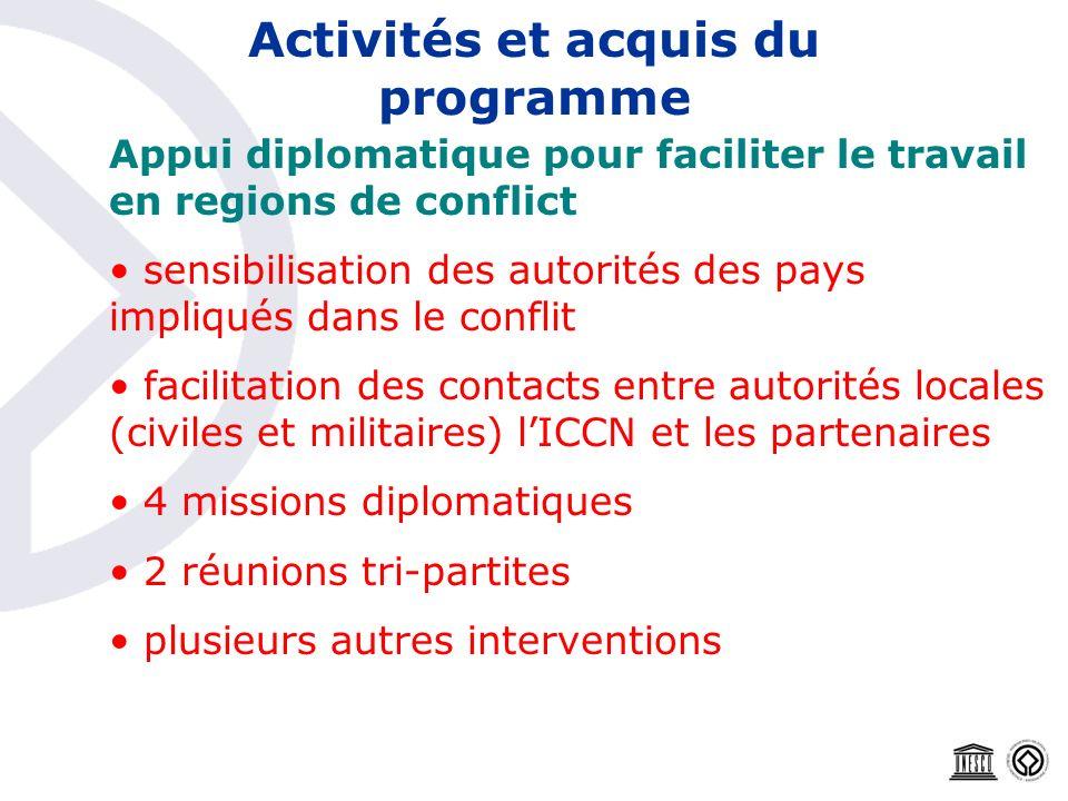 Activités et acquis du programme Appui diplomatique pour faciliter le travail en regions de conflict sensibilisation des autorités des pays impliqués