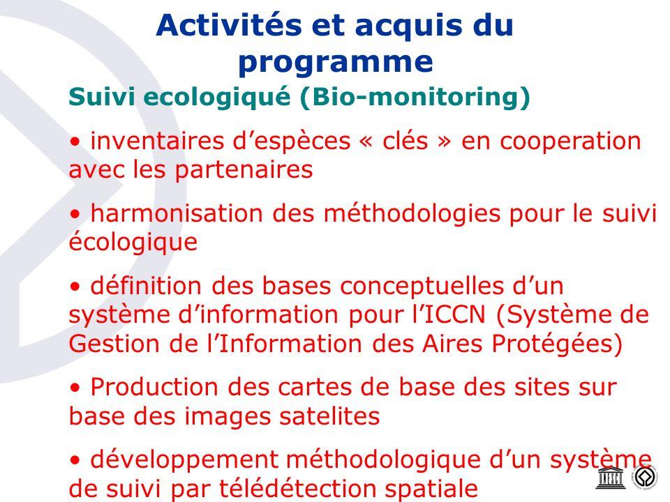 Activités et acquis du programme Suivi ecologiqué (Bio-monitoring) inventaires despèces « clés » en cooperation avec les partenaires harmonisation des