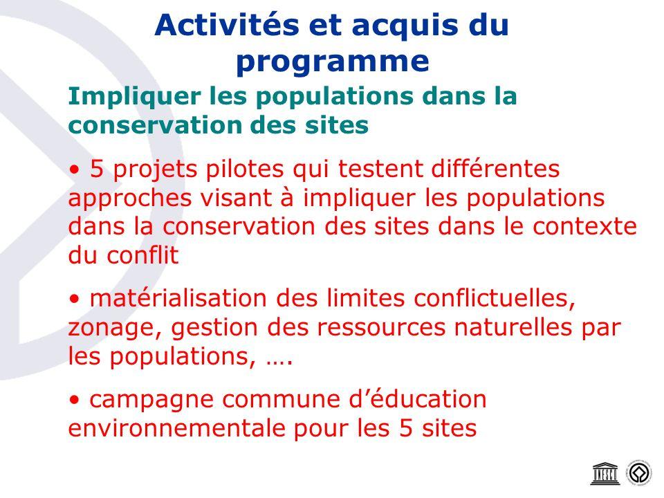 Activités et acquis du programme Impliquer les populations dans la conservation des sites 5 projets pilotes qui testent différentes approches visant à