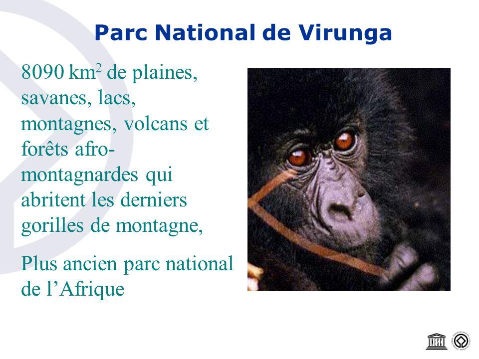 Parc National de Virunga 8090 km 2 de plaines, savanes, lacs, montagnes, volcans et forêts afro- montagnardes qui abritent les derniers gorilles de mo