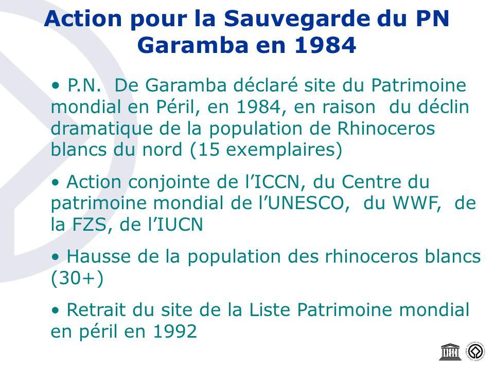 Action pour la Sauvegarde du PN Garamba en 1984 P.N. De Garamba déclaré site du Patrimoine mondial en Péril, en 1984, en raison du déclin dramatique d