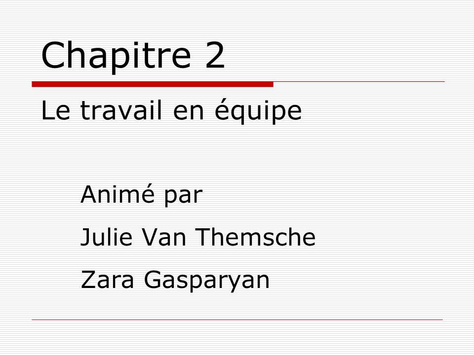 Chapitre 2 Le travail en équipe Animé par Julie Van Themsche Zara Gasparyan