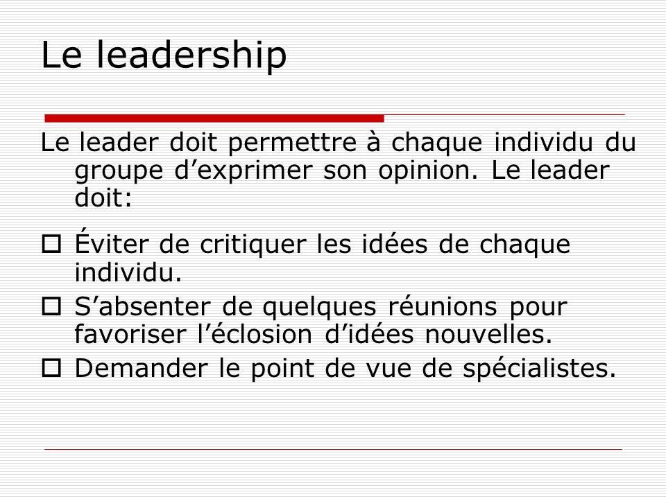 Le leadership Le leader doit permettre à chaque individu du groupe dexprimer son opinion. Le leader doit: Éviter de critiquer les idées de chaque indi