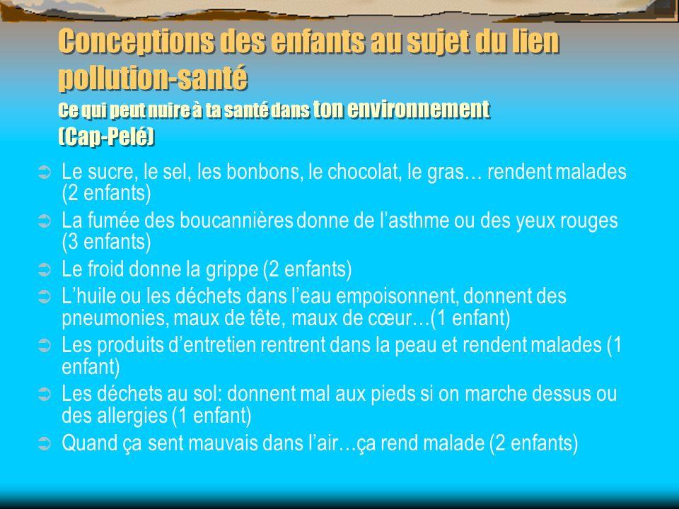 Conceptions des enfants au sujet du lien pollution-santé Ce qui peut nuire à ta santé dans ton environnement (Cap-Pelé) Le sucre, le sel, les bonbons,