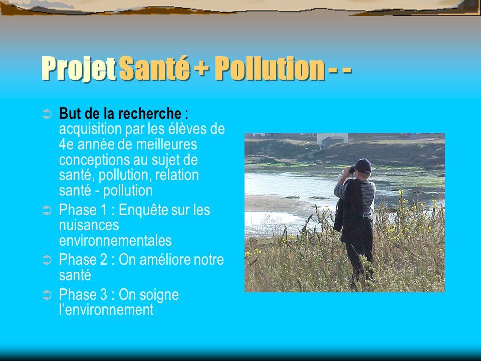 Projet Santé + Pollution - - But de la recherche : acquisition par les élèves de 4e année de meilleures conceptions au sujet de santé, pollution, rela