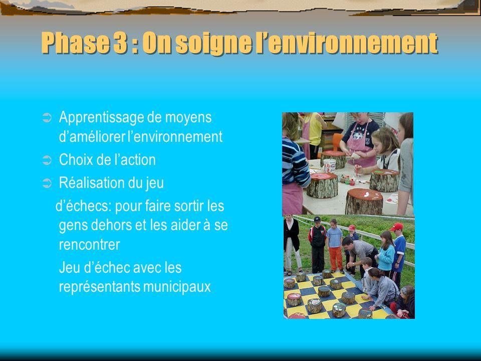 Phase 3 : On soigne lenvironnement Apprentissage de moyens daméliorer lenvironnement Choix de laction Réalisation du jeu déchecs: pour faire sortir le