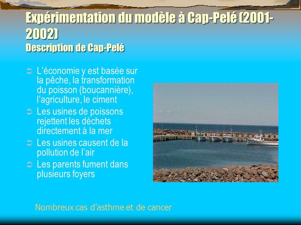 Expérimentation du modèle à Cap-Pelé (2001- 2002) Description de Cap-Pelé Léconomie y est basée sur la pêche, la transformation du poisson (boucannièr