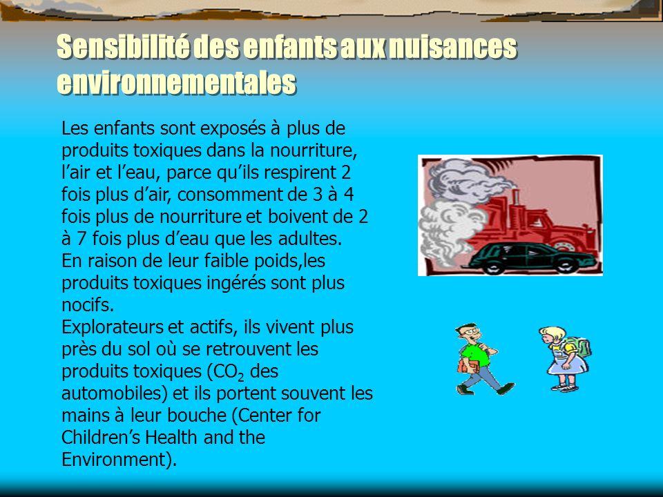 Sensibilité des enfants aux nuisances environnementales Les enfants sont exposés à plus de produits toxiques dans la nourriture, lair et leau, parce q