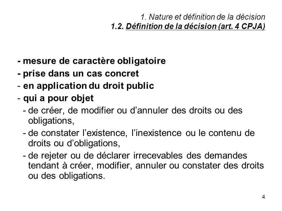 4 1. Nature et définition de la décision 1.2. Définition de la décision (art. 4 CPJA) - mesure de caractère obligatoire - prise dans un cas concret -