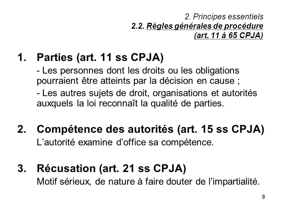 8 2. Principes essentiels 2.2. Règles générales de procédure (art. 11 à 65 CPJA) 1.Parties (art. 11 ss CPJA) - Les personnes dont les droits ou les ob