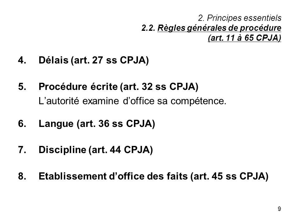 9 2. Principes essentiels 2.2. Règles générales de procédure (art. 11 à 65 CPJA) 4.Délais (art. 27 ss CPJA) 5.Procédure écrite (art. 32 ss CPJA) Lauto
