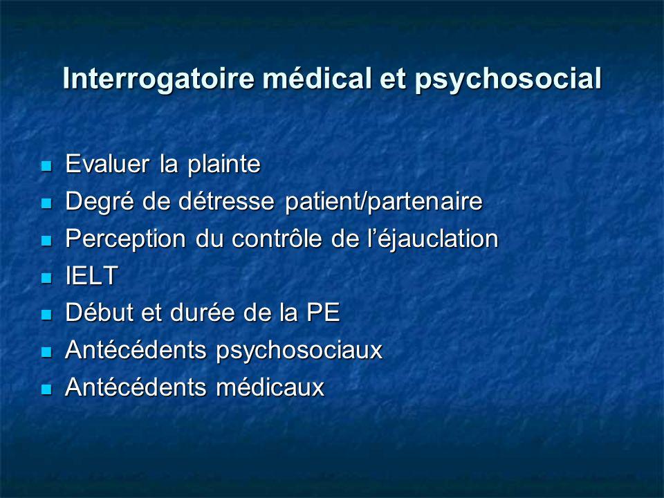 Interrogatoire médical et psychosocial Evaluer la plainte Evaluer la plainte Degré de détresse patient/partenaire Degré de détresse patient/partenaire