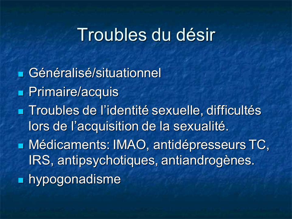 Troubles du désir Généralisé/situationnel Généralisé/situationnel Primaire/acquis Primaire/acquis Troubles de lidentité sexuelle, difficultés lors de