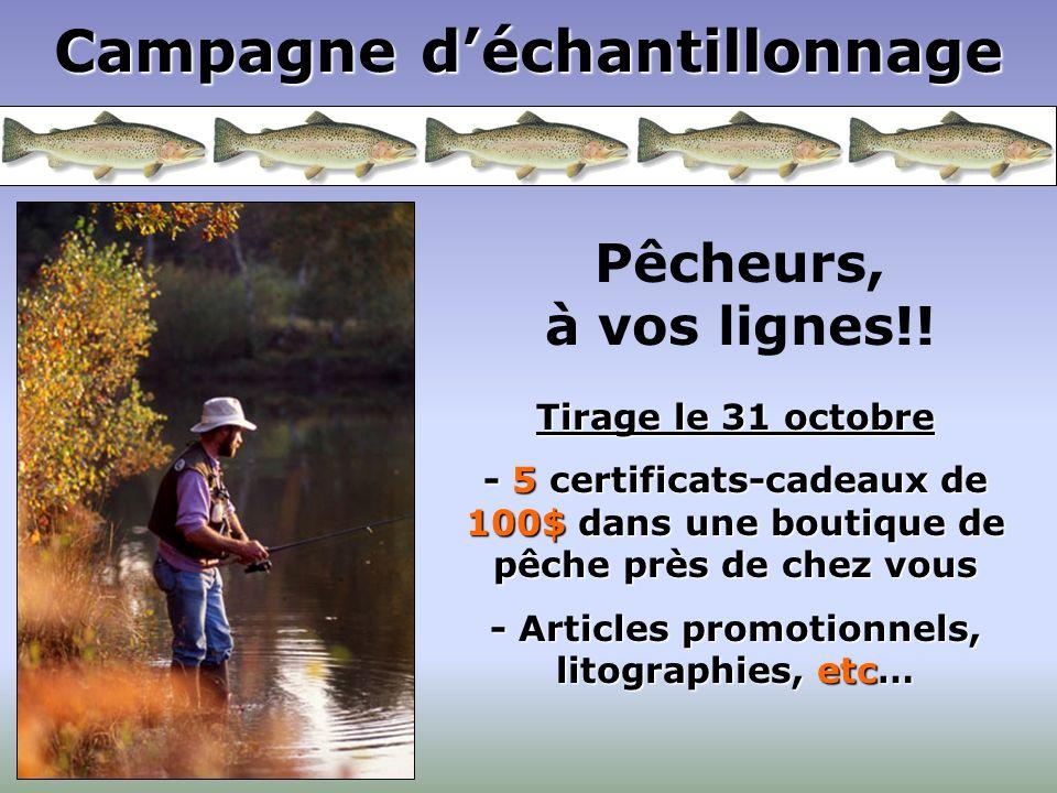 Campagne déchantillonnage Pêcheurs, à vos lignes!! Tirage le 31 octobre - 5 certificats-cadeaux de 100$ dans une boutique de pêche près de chez vous -