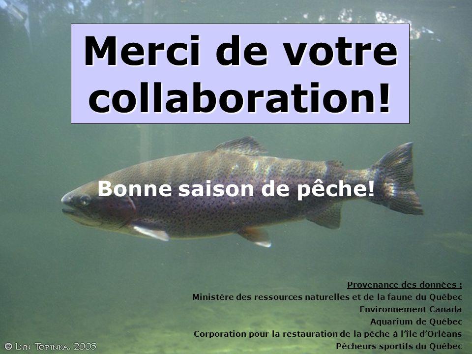 Merci de votre collaboration! Provenance des données : Ministère des ressources naturelles et de la faune du Québec Environnement Canada Aquarium de Q