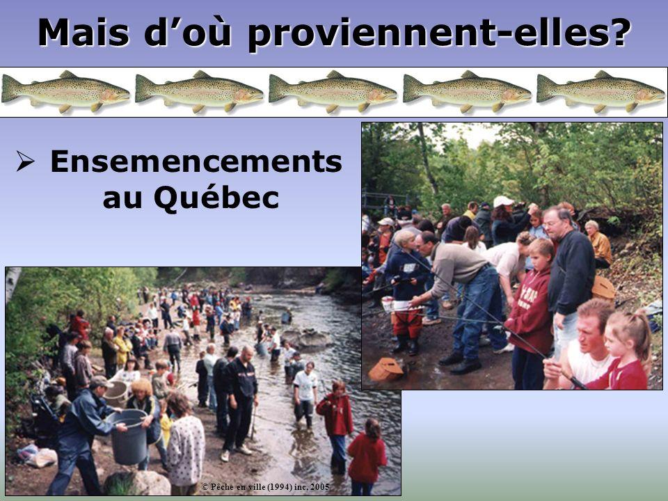 Mais doù proviennent-elles? Ensemencements au Québec © Pêche en ville (1994) inc, 2005