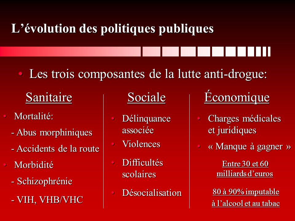 Lévolution des politiques publiques Les trois composantes de la lutte anti-drogue:Les trois composantes de la lutte anti-drogue: SanitaireSocialeÉconomique Mortalité:Mortalité: MorbiditéMorbidité - Abus morphiniques - Accidents de la route - Schizophrénie - VIH, VHB/VHC Délinquance associéeDélinquance associée ViolencesViolences Difficultés scolairesDifficultés scolaires DésocialisationDésocialisation Charges médicales et juridiquesCharges médicales et juridiques « Manque à gagner »« Manque à gagner » Entre 30 et 60 milliards deuros 80 à 90% imputable à lalcool et au tabac
