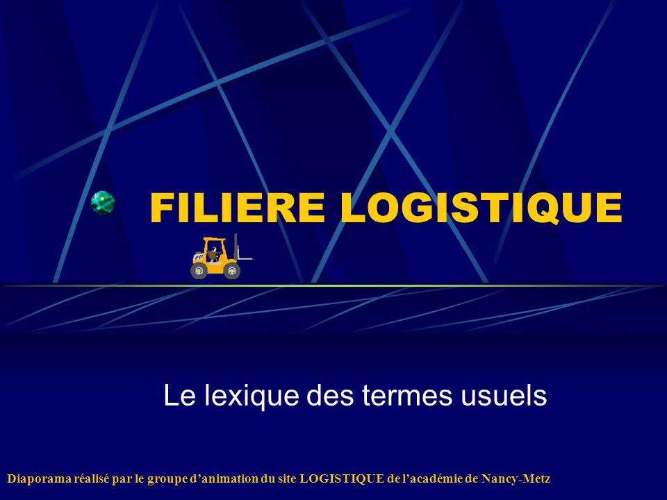 FILIERE LOGISTIQUE Le lexique des termes usuels Diaporama réalisé par le groupe danimation du site LOGISTIQUE de lacadémie de Nancy-Metz