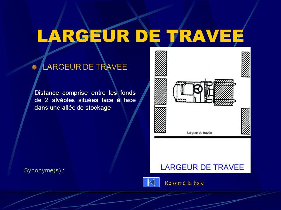 LARGEUR DE TRAVEE Distance comprise entre les fonds de 2 alvéoles situées face à face dans une allée de stockage Synonyme(s) : Retour à la liste